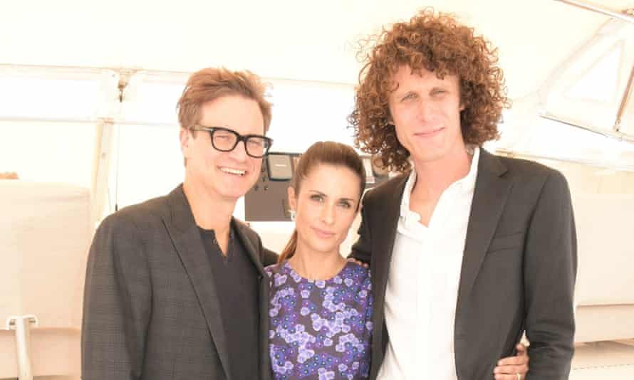 Livia Firth with her husband Colin Firth, left, and director Andrew Morgan at the Cannes film festival.