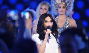 Conchita Wurst performs during a rehearsal of the first Semi Final
