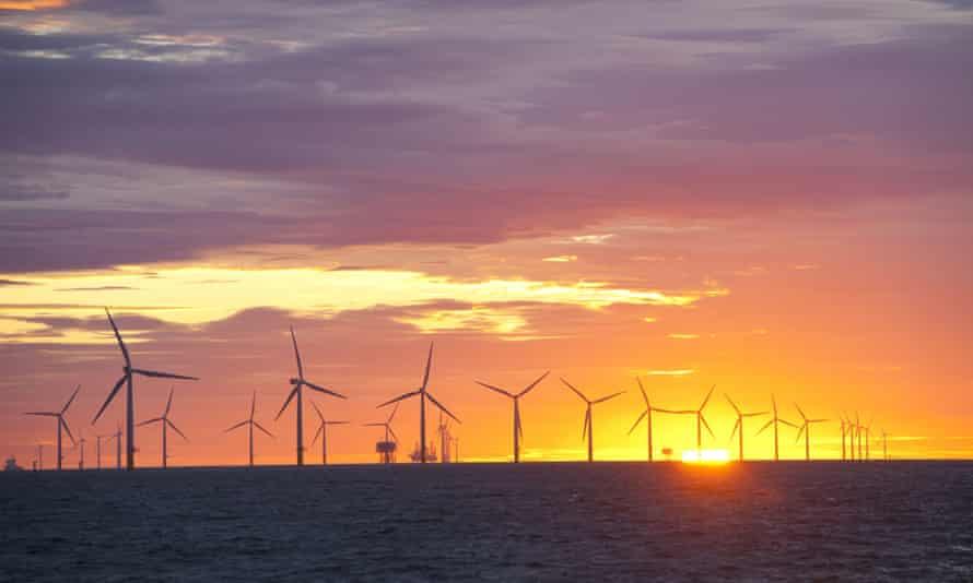 An offshore windfarm near Barrow-in-Furness, Cumbria.
