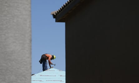 A building worker in a housing complex in Las Vegas, Nevada.