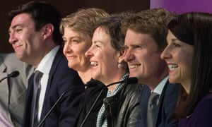 Labour MPs (L-R) Andy Burnham, Yvette Cooper, Mary Creagh, Tristram Hunt and Liz Kendall address delegates at the Progress annual conference in central London.