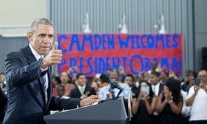 President Barack Obama speaks at the Ray & Joan Kroc Corps Community Center, Monday, May 18, 2015, in Camden, N.J.