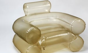 Blow up chair: this chair was originally soft and flexible but over time has become rigid and has yellowed. The chair is still displayable but it is always kept fully inflated to ensure that the shape is maintained.