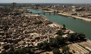 The River Tigris River running through downtown Baghdad in 2013.