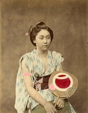 Japan by Felice Beato from 1865 Woman with fan