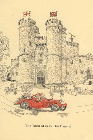 A Christmas illustration of Saltwood Castle by Rufus Segar