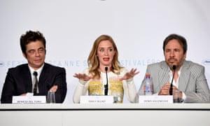 Benicio Del Toro, Emily Blunt, and director Denis Villeneuve at the press conference for Sicario.