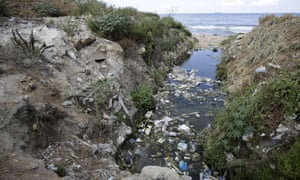 Rubbish flows into the sea in Dbayeh, north of Beirut in September 2014. Lebanon has many treatment plants but few connections to the sewage system.