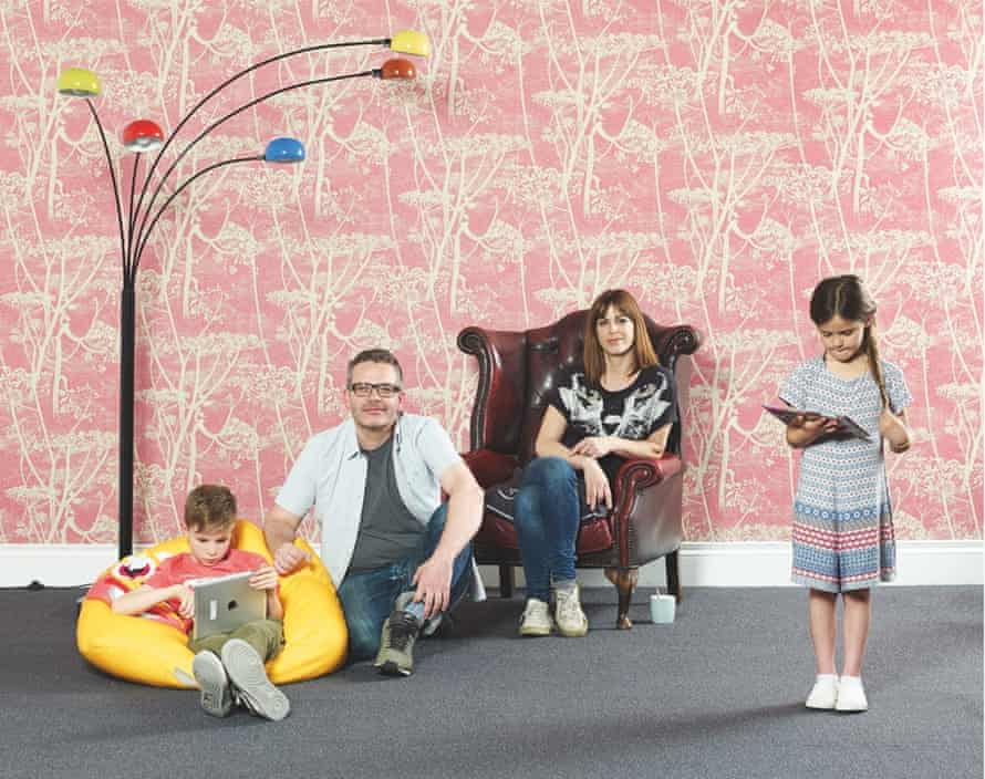 Johnny Taylor with his partner, Gina North, and their children Leon, eight, and Myla, six
