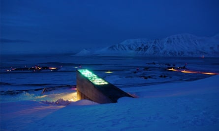 The Svalbard seed vault, with its fibre-optic display above the entrance, looks like a Bond villain's lair. Mari Tefre/Crop Trust