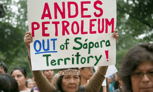 Sapara leader Gloria Ushiga, from the Amazon in Ecuador, protests against Chinese oil company Andes Petroleum.