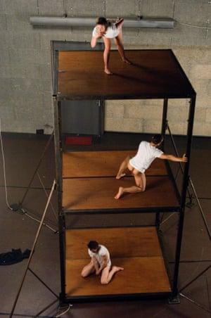 "'Marooned'"" the three dancers in Boris Charmatz's Aatt enen tionon."