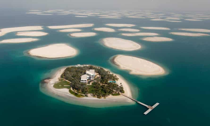 A development is seen on one of the islands of The World Islands project.