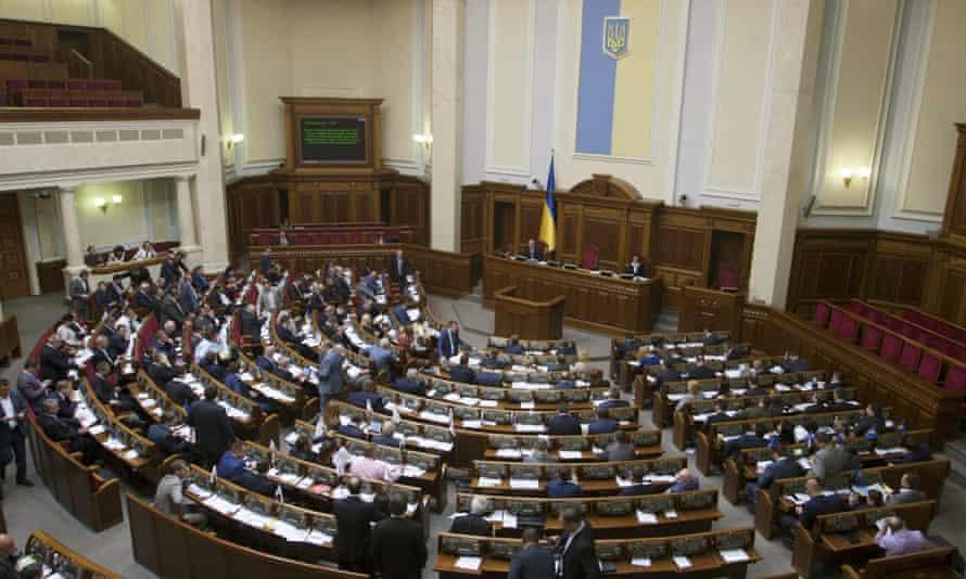Members of parliament meet in Kiev on 19 May.