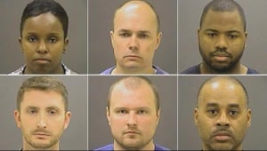 Photographs of six Baltimore police officers charged in relation to Freddie Gray's death (L-R: top row: Alicia D White, Brian Rice, William Porter; bottom row: Edward Nero, Garrett Miller, Caesar Goodson).