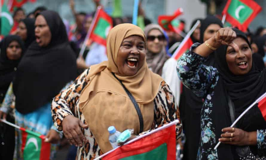 Opposition supporters at Friday's protest in Malé.