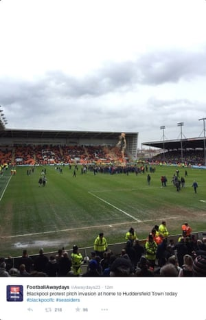 Blackpool fans protest on the pitch against Huddersfield e2a78a18e