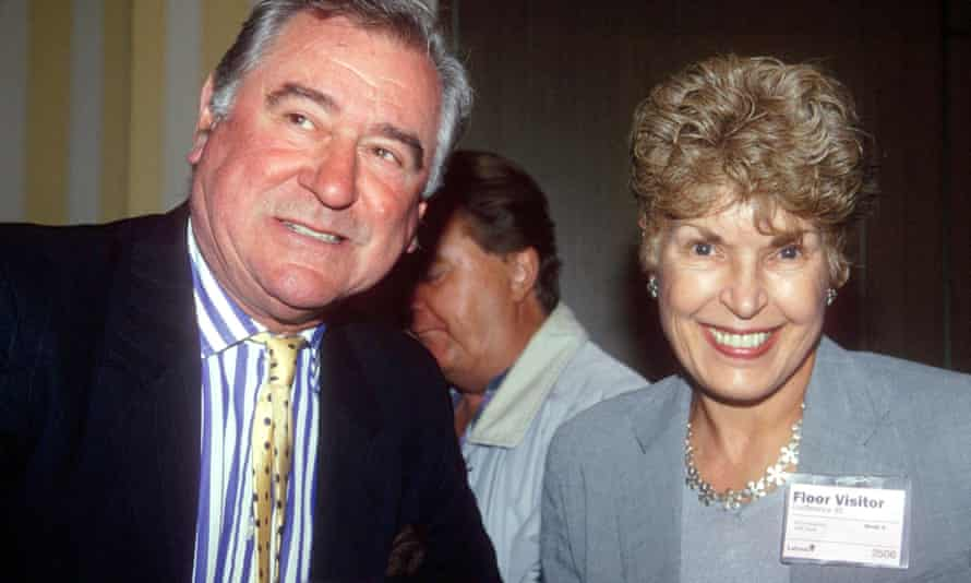 Ruth Rendell and the actor George Baker, who played DCI Wexford, at the 1995 Labour party conference.
