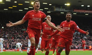 Steven Gerrard of Liverpool celebrates his winning goal.