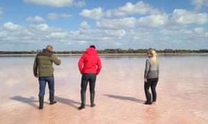 Walking on the pink salt lake in the Wimmera.