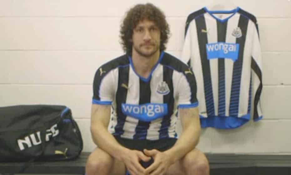 Newcastle's Fabio Coloccini unveils the new Newcastle kit in an official club video.