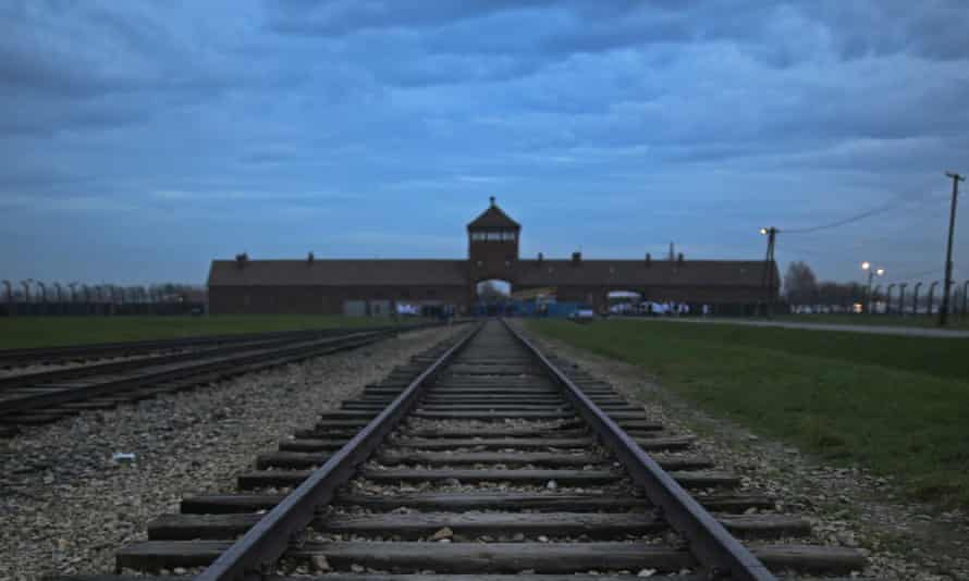 """The famous train tracks leading into Auschwitz, which were labelled """"sport"""" by Flickr's algorithm."""