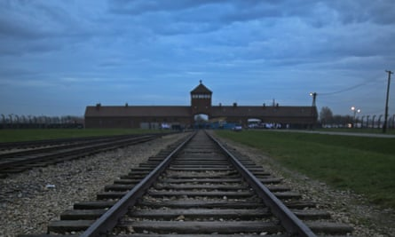 The famous train tracks leading into Auschwitz, which were labelled