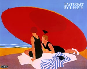 Poster produced for London & North Eastern Railway (LNER) to promote rail travel to the East Coast of England. Artwork by Tom Purvis (1888-1957).