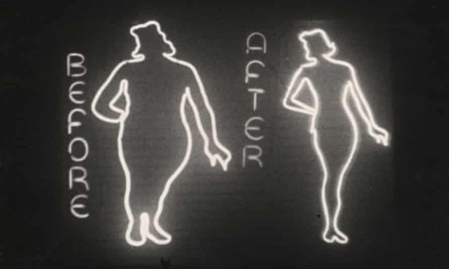 'before and after' woman's profile in neon sign