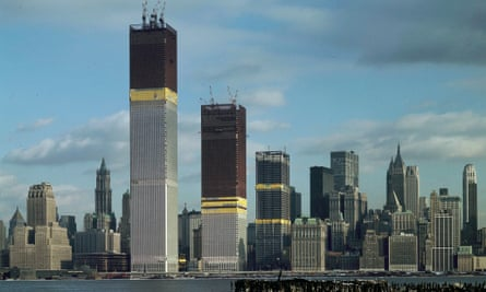 The twin towers of New York's original World Trade Center under construction, as seen from Jersey City in 1970.