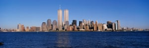 The downtown Manhattan skyline, shown here from Liberty State Park in 1998, was utterly dominated by the twin towers.