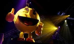 Namco uses a happy-looking Pac-Man on its stand at the E3 convention, Los Angeles, in 2005.