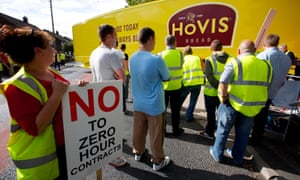 Striking workers at the Hovis bakery in Wigan in August 2013.