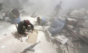 The aftermath of an attack on fighters in Aleppo, Syria.