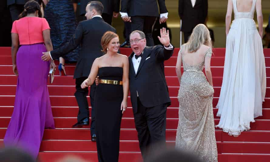 John Lasseter, with actor Amy Poehler, at the premiere of Inside Out at the Cannes film festival.