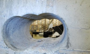 The hole drilled into the wall of the safe deposit vault.
