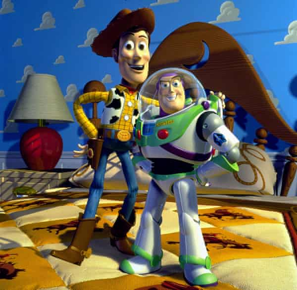Woody and Buzz Lightyear in Toy Story, directed by John Lasseter.