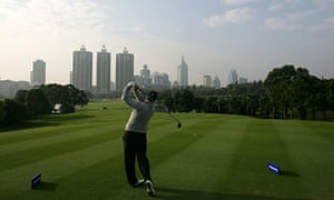 Welsh golfer Stephen Dodd tees off at the China Open in Shenzhen, southern China.