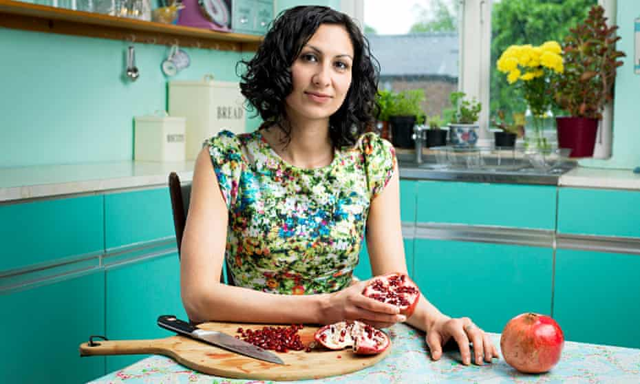 Yasmin Khan in her kitchen: 'I want to show the positive side of Iran with my cooking.' Photograph: Pal Hansen for the Observer