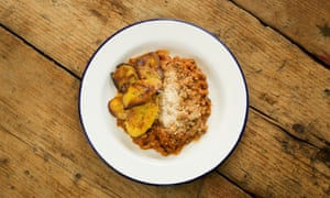 'Red red' spicy beans served with plantains.