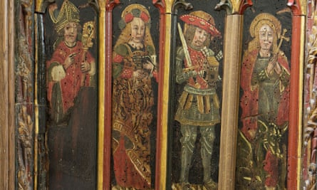 15th-century medieval panels in place at The Holy Trinity Church in Torbryan, Newton Abbot, Devon.