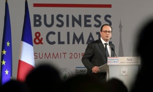 "French President Francois Hollande delivers a speech during the ""Business and Climate Summit 2015"" at  UNESCO headquarters in Paris, France, May 20, 2015."