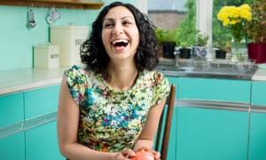 'Britain has along tradition of immigrants helping thecountry develop and flourish. It's the same with food': Yasmin Khan in her kitchen at home.