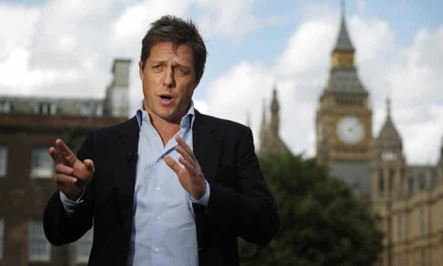 Hugh Grant gives a television interview in support of the Hacked off campaign group near parliament in 2011.