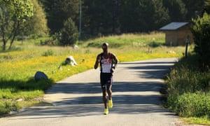 Mo Farah on a training run in Perpignan, France.