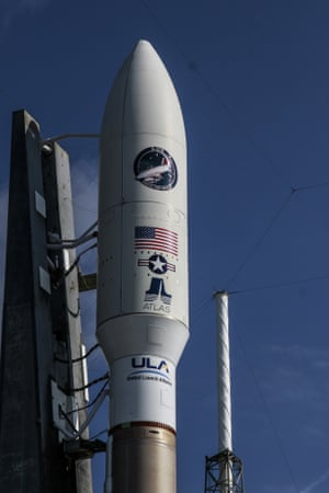 A United Launch Alliance Atlas V rocket is rolled out Tuesday in Cape Canaveral, Florida.
