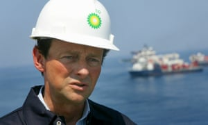 CEO of BP Tony Hayward stands on the deck of the Discover Enterprise drill ship during recovery operations May 28, 2010 in the Gulf of Mexico 55, miles south of Venice, Louisiana.