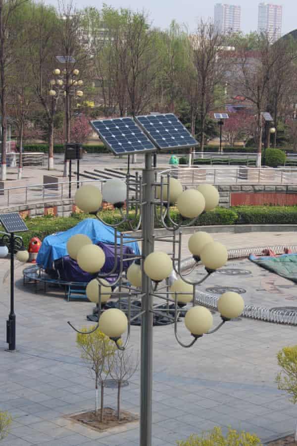 Solar panels on street lights in Baoding.