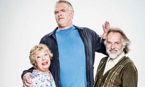 Greg Davies with Gwyneth Powell and Rik Mayall in Man Down.