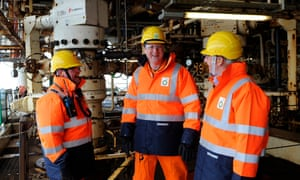 Prime Minister David Cameron (centre) with BP regional president (North Sea) Trevor Garlick (right) and offshore installation manager Mark Furness,